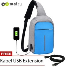 Mairu Tas Selempang Sling Bag Anti Maling Cross Body With  USB Charger Support  For Iphone Ipad Mini Samsung Tab Tablet 10'' Model XD Grey - Light BLue