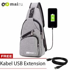 Mairu Tas Shoulder Sling Bag Cross Body With  USB Charger Support  For Iphone Ipad Mini Samsung Tab Tablet 8'' Model Santa Barbara - Grey