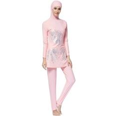 Membuat Perbedaan Cetak Islam Berenang Pakaian Sederhana Muslim Baju Renang 2 Pieces Muslim Baju Renang Terhubung Jilbab Burkini untuk Wanita Wanita- internasional