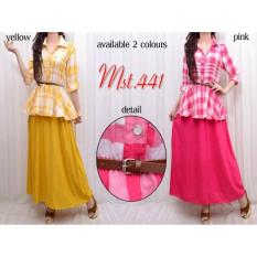 Harga Maksi Maxi Long Dress Katun Kombinasi Ms441 Yellow Yang Murah
