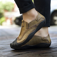 Review Orang Malas Korea Fashion Style Pria Pria Sepatu Kulit Kacang Sepatu Pria Single Layer Khaki Di Tiongkok