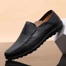 Jual Beli Orang Malas Sepatu Kulit Kasual Sepatu Pria Kulit Pria Musim Panas 1887 Hitam Tiongkok