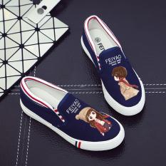 Promo Qiudong Korea Fashion Style Ditambah Beludru Datar Dengan Pedal Sepatu Kasual Sepatu Grafiti Kecantikan Enam Nomor Biru Sepatu Wanita Sepatu Sport Sepatu Sneakers Wanita Akhir Tahun