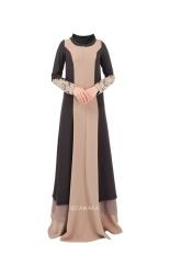 Malaysia Muslim Wanita Dress, Ukuran Besar Dress, Pencocokan Warna Robe (kopi)-Intl