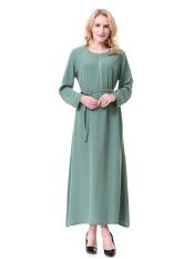 Malaysia Baju Kurung Wanita Muslim Lengan Panjang Jubah Dubai Saudi Wanita Gaun Gaun Wanita Arab Timur Tengah Ladies Long Skirt-Hijau-Intl