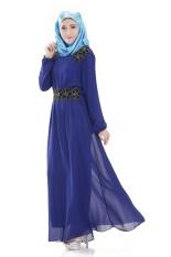 Malaysia Muslim Wanita Gaun Sifon Gaun Muslim Fashion Gaun (Biru)-Intl