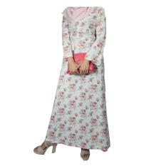 Mall BTM Fashion - Rimesa Gamis Vintage Motif Flower Bucket - Putih