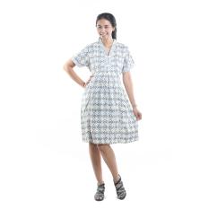 Mama Hamil Baju Dress Menyusui Batik Kerja Modis Trendy - Abu - Free 1 Celana Dalam Hamil