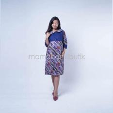 Mama Hamil Baju Hamil Dress Hamil Menyusui Cermen Batik - Biru