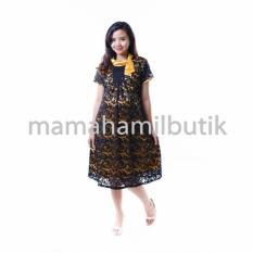 Mama Hamil Baju Hamil Dress Pesta Brokat Hitam Cantik Krah Silky Modis - Kuning Tua