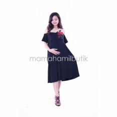 Mama Hamil Baju Hamil Modern Dress Pesta Menyusui Bordir Bunga Agatha Cantik - Hitam - Free CD Hamil