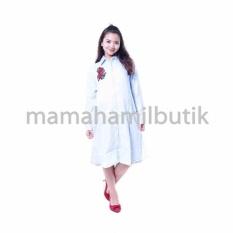 Mama Hamil Baju Hamil Muslim Dress Tunik Katun Bordir Bunga Cantik - Biru