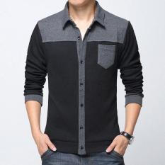 Spesifikasi Man Cardigan Single Breasted Baik Kualitas Katun Kasual Tombol Rajutan Kerah Yg Terlipat Ke Bawah Kerah Ramping Pria Sweater Hitam Intl Beserta Harganya