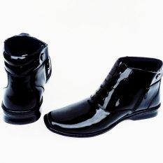Mandiens PDH 03-LUX Sepatu Boots Pria Polri Tni Bahan kulit Asli Mengkilap - Hitam