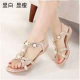 Toko Sepatu Sandal Wanita Sol Datar Bertatahkan Berlian Anti Selip Versi Korea Sampanye Sepatu Wanita Sendal Wanita Online Di Tiongkok