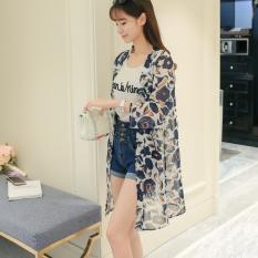 Manis Sifon Musim Semi Dan Musim Panas Baru Atasan Ruangan AC Baju Pelindung Terik Matahari (Sifon (Warna Dasar Putih Bunga Biru))