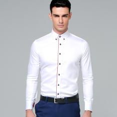 Diskon Manoble Kualitas Tinggi 2016 Baru Kemeja Pria Lengan Panjang 100 Katun Warna Solid Slim Fit Shirt Kasual Bisnis Mens Dress Shirt F03 Putih Intl