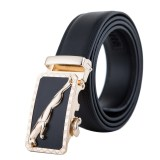 Man S Leopard Automatic Buckle Genuine Leather Belt Mbt1621 1 Black Intl Asli