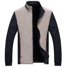 Beli Manzone Jaket Casual Trendi Elegant Abu Abu Kombinasi Biru Manzone Dengan Harga Terjangkau