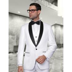 Manzone Setelan Jas Vest Dan Celana Pria Modern Model Slimfit Putih Original
