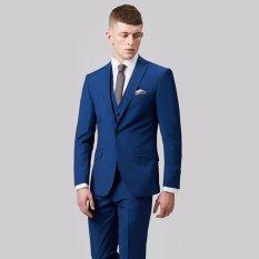Jual Manzone Setelan Jas Celana Pria Slim Fit Elegant Design Biru Satu Set
