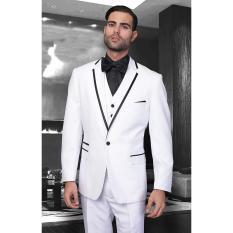 Manzone - Stelan Jas, Vest dan Celana Elegant Untuk Nikah - Putih List Hitam