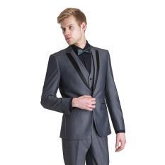 Marcolabs - Setelan Jas Pria The Executive Vibes -  Jas Pria Formal Urban Design - Jas Pria Urban Hedon Style  - Jas Pria Prewedding - Jas Formal Pria High Class ( Jas + Vest + Celana ) - Night Gray
