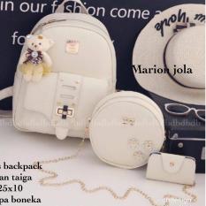 Tas BACKPACK/Ransel/TAS MINI BACKPACK/Tas Anak/Tas 3in1/Tas 4in1/TAS CROS BODY/TAS Drawstring backpack/Tas Messenger/Tas Chanel/Tas Dior/Tas FendI/Tas Louis Vuitton/Tas Prada/Tas Gucci/Tas murah MARION JOLA 3PCS BACKPACK WHITE