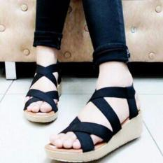 Marlee Rubber Cross Strap Wedges RT-21 Hitam