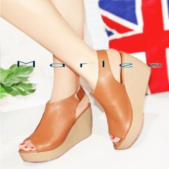 sepatu sandal wedges wanita Marlee Wedges Sandal Open Toe LU 03 Tan Murah .