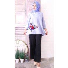 Marlow Jean Baju Atasan Wanita Muslimah Motif Butterfly - Biru