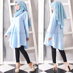 Marlow Jean Baju Wanita Muslim Tunik Blouse Fashion Wanita Muslim Baju Ibu Menyusui - Biru