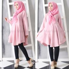 Marlow Jean Baju Wanita Muslim Tunik Blouse Fashion Wanita Muslim Baju Ibu Menyusui - Pink