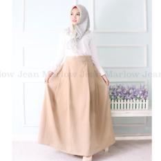 Harga Marlow Jean Rok Panjang Rok Hijabers Simple Women Long Skirt Rok Polos Panjang Coklat Terbaru
