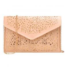 Marlow Jean Tas Vintage Hollow Out Floral Envelope Shape Tas Selempang Tas Pesta Clutch Bag - Krem