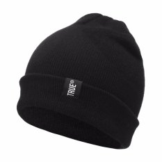 Marlow Jean Topi Kupluk Knitted Winter Hat Beanie Kupluk Bahan Kain Rajut Tebal Topi Camping - Hitam