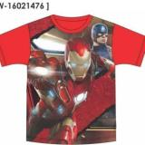 Harga Marvel Civil War Iron Man Vs Captain America Double Knit Polyester Red T Shirt New