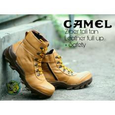 MARVEL'S - Sepatu KULIT ASLI Boots Safety Zipper Temli Pria - CAMEL  Leather Full Up TAN