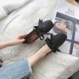 Spesifikasi Sepatu Korea Fashion Style Berkepala Persegi Wanita Yang Bermoral Sepatu Perempuan Baru Hitam Sepatu Wanita Flat Shoes Oem
