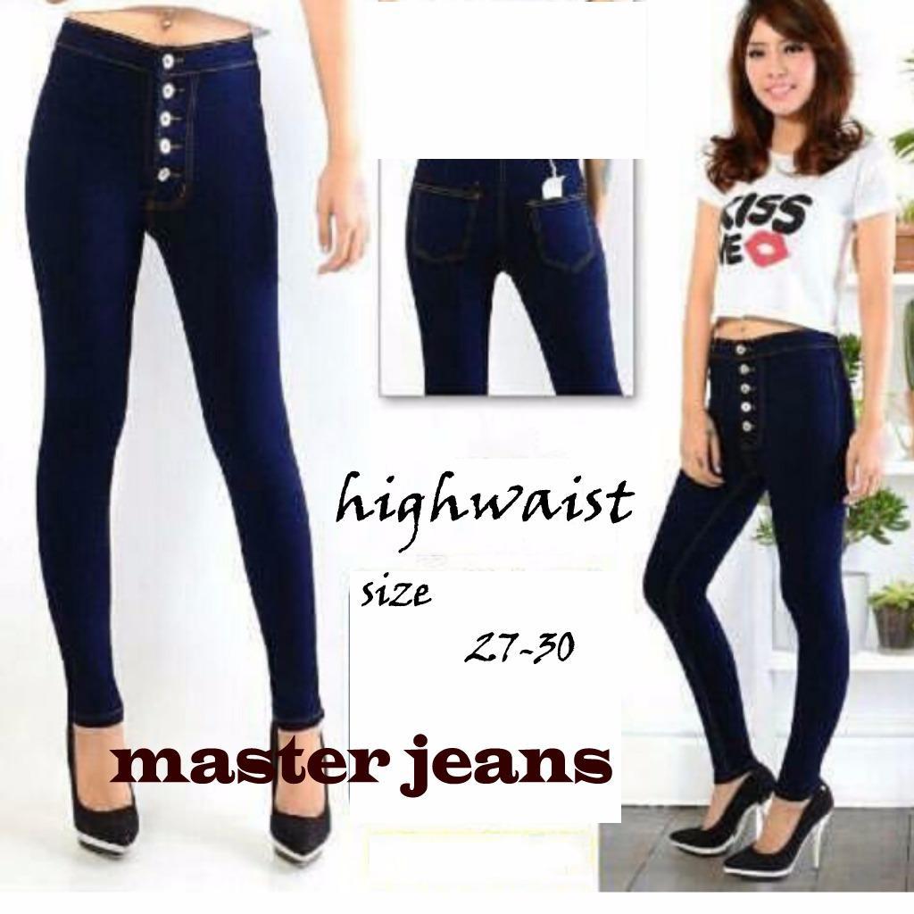 master jeans celana highwaist wanita kancing lima