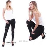 Toko Jual Master Jeans Celana Wanita Hitam Silet Tiga