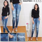 Spesifikasi Master Jeans Celana Wanita Model Terbaru Legging Jeans Ripped Karet Pinggang Online