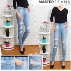 master jeans celana wanita sobek puring/karet pinggang