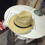 Matahari Topi Jerami Musim Panas Gesper Kulit Kecil Topi Sulap Pria Inggris Beige Diskon Akhir Tahun