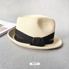 Matahari musim panas kasual pria dan wanita pantai topi jerami topi kecil (Beige)