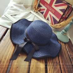 Matahari musim panas musim panas perempuan matahari topi jerami topi (Tepi gelombang Cooljie model-Angkatan Laut)