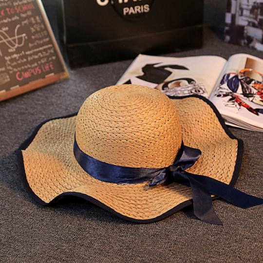 Matahari Topi Jerami Perempuan Musim Panas Orangtua Dan Anak Topi Pelindung Sinar Matahari Pantai (Gelombang