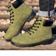 MAX Koleksi Fashion Genuine Leather Dr Martin Boots Hangat Bulu Casual Top Tinggi Martin Sepatu Pria Sepatu Bot Ankle Motor Boots (hijau Tentara) -Intl