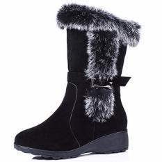 Max Collection Snow Boots Wanita Musim Dingin Scrub Benar-benar Bukti untuk Kelinci Rambut Belt Buckle Tabung Lengan Geser Wedges Sepatu Bot Wanita Boots (Hitam) -Intl