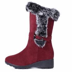 Max Collection Snow Boots Wanita Musim Dingin Scrub Benar-benar Bukti untuk Kelinci Rambut Belt Buckle Tabung Lengan Geser Wedges Sepatu Bot Wanita Boots (Merah) -Intl